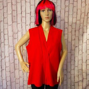 Vintage 1950 Style Red Sleeveless Blouse Size L
